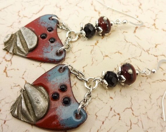 Boho Earrings, Rustic Earrings, Dark Red Earrings, Rustic Boho Earrings, Artisan Enamel, Long Earrings, Blue and Red, Artisan Jewelry, OOAK