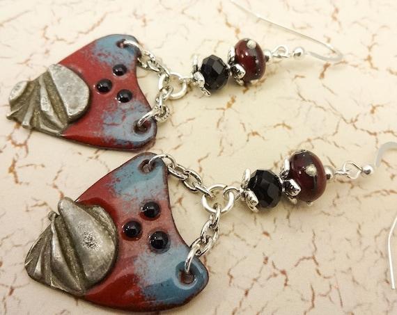 Boho Earrings, Rustic Earrings, Dark Red Earrings, Rustic Boho Earrings, Artisan Enamel, Long Earrings, Blue and Red, Artisan Jewelry, OOAK