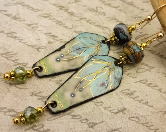 Artisan Enamel, Blue Green Flower Enamel Earrings with Polymer Clay Artisan Beads, French Blue and Gold