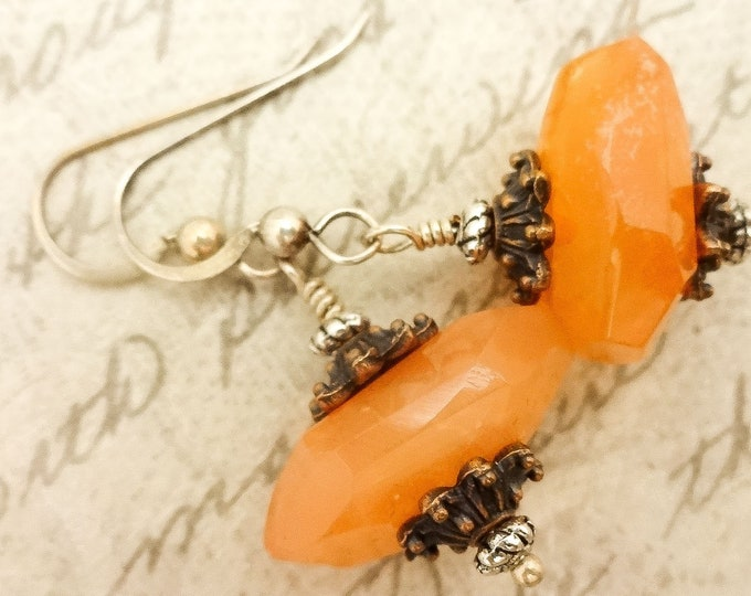 Carnelian Nugget Earrings, Carnelian and Copper Earrings, Gemstone and Mixed Metal Earrings, Carnelian Jewelry