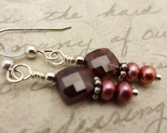 Garnet Earrings, January Birthstone Earrings, Garnet and Pearl, Red Gemstone, Garnet Jewelry, Gift for Her, Gift for Wife