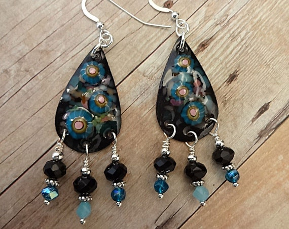 Artisan Made Enamel, Black Onyx and Blue Glass Earrings