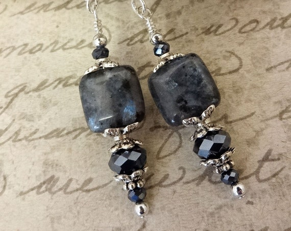 Larvikite Gemstone Earrings, Gray Black Gemstone Earrings, Gray Gemstones and Faceted Glass Rondelle Earrings, Gift for Wife
