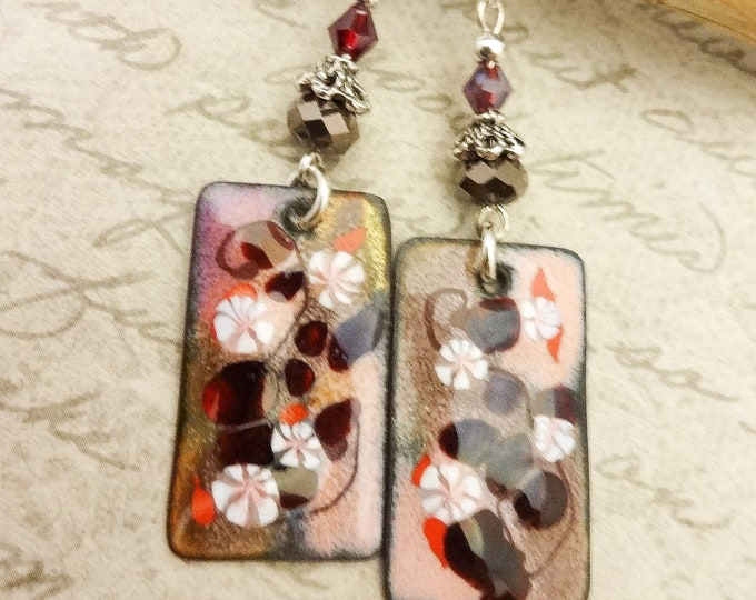 Artisan Enamel, Dark Brown, Red, Maroon and Pink Enamel Earrings, Boho Artisan Earrings, Gift for Her, One of a Kind Jewelry