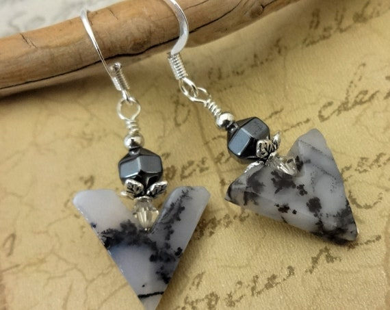 Montana Agate and Hematite Earrings, Sterling Silver and Metallic Gray Gemstone Earrings, Gift for Wife, Gift for Her