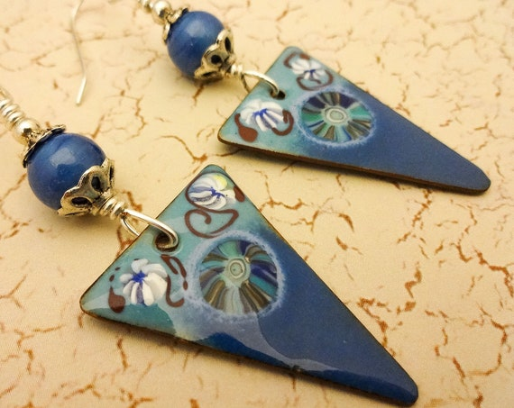 Artisan Enamel and Lamp Glass Earrings in Blue White and Red, Artisan Earrings, Triangle Earrings, Long Blue Earrings