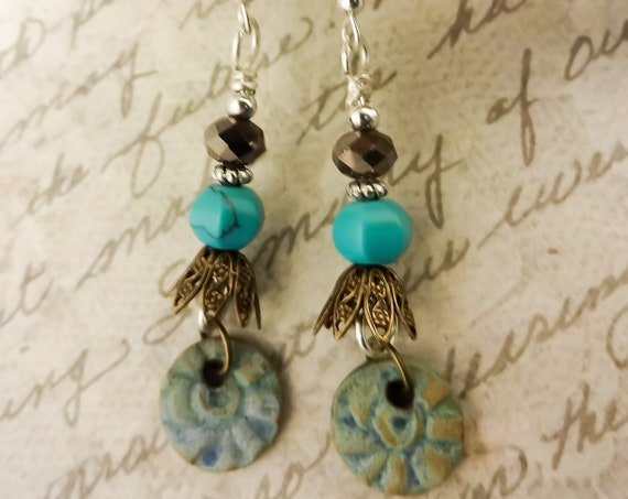 Turquoise and Artisan Made Ceramic Earrings, Boho Gemstone Earrings, Turquoise Bohemian Earrings, Gift for Her