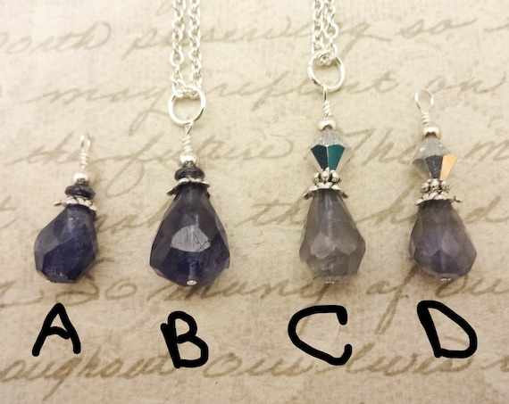 Iolite Drop Necklace, Iolite Pendant on Silver Chain, Iolite Necklace, Gift for Her
