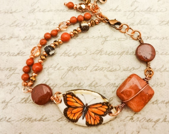 Red Jasper Poppy Jasper Bone Coral Crystal Copper Ceramic Monarch Butterfly Bracelet, Gift for Mom, Boho Style Brick Red Rustic Bracelet