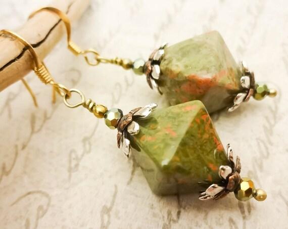 Unakite Earrings, Green Gemstone Earrings, Orange and Green Earrings, Fall Colors, Rustic Jewelry, Stone Earrings