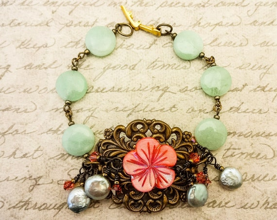 Mint Chrysoprase, Mother of Pearl, Coin Pearl and Crystal Bracelet, Antique Filigree, Green Bracelet, Artisan Bracelet, Victorian Style