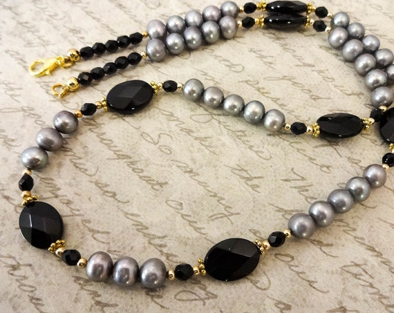 Black and Gray Gemstone and Pearl Necklace, Gemstone Necklace, Black Onyx, Black and Silver, Black and Gray, Black Gemstone