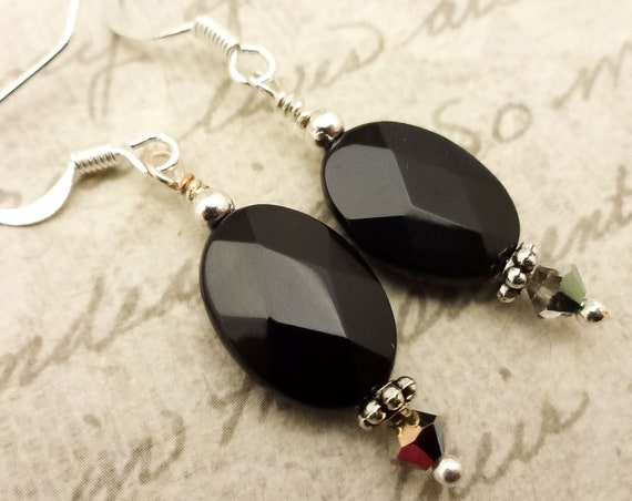 Black Onyx Faceted Ovals Earrings, Black Gemstone Earrings, Black and Silver Contemporary Earrings