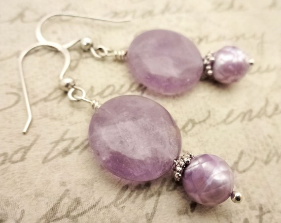 Lavender Amethyst and Pearl Earrings, February Birthstone Earrings, Lavender Earrings, Birthstone Jewelry, Gift for Her
