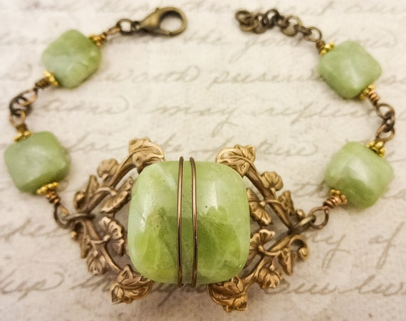Green Garnet and Antique Brass Filigree, Victorian Style Bracelet, Vintage Inspired Jewelry, Green Gemstone Bracelet