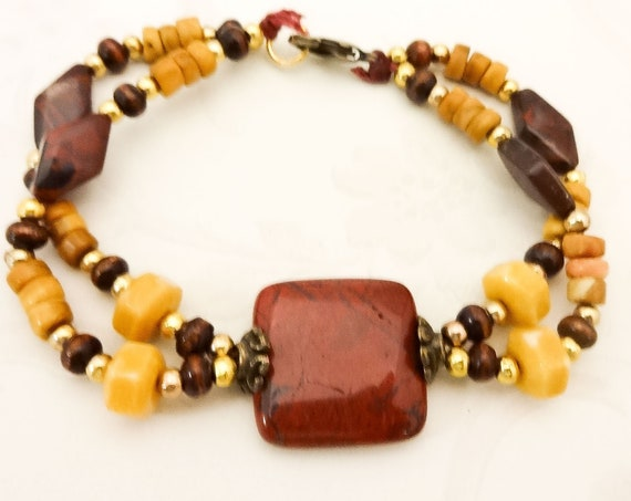 Maroon and Gold Bracelet, Jasper Bracelet, Poppy Jasper Jewelry, Yellow Jasper Jewelry, Gemstone Bracelet, Boho Style Jewelry