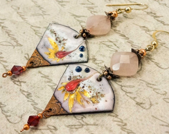 Artisan Enamel Earrings, Rose Quartz Earrings, One of a Kind Artisan Earrings, Handmade Earrings, Gift for Her