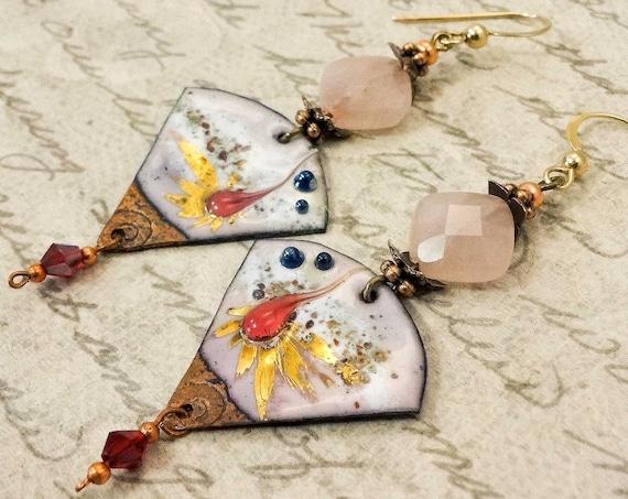 Artisan Enamel Earrings, Rose Quartz Earrings, One of a Kind Artisan Earrings, Handmade Earrings, Gift for Her