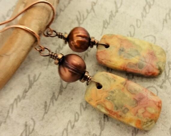 Crazy Lace Agate Stone Earrings, Designer Stones, Yellow Orange Gray Earrings, Rustic Boho Stone Earrings