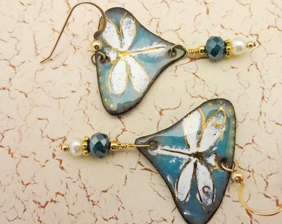 Aqua Blue White and Gold Dragonfly Earrings, Handmade Enamel and Pearl Earrings, Gift for Wife, Mothers Day Gift
