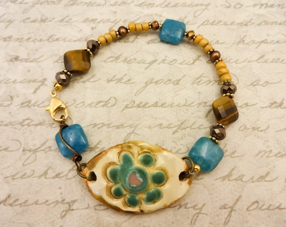 Boho Style Ceramic and Gemstone Bracelet with Tigers Eye, Apatite and Czech Glass, Blue Brown and Cream Bracelet