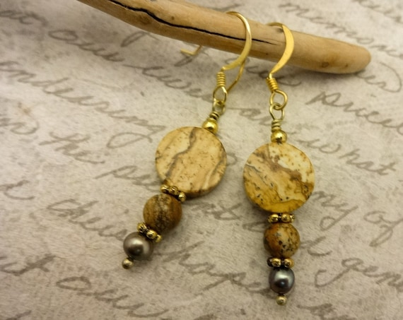 Picture Jasper and Pearl Earrings, Brown Gemstone Earrings, Jasper Earrings