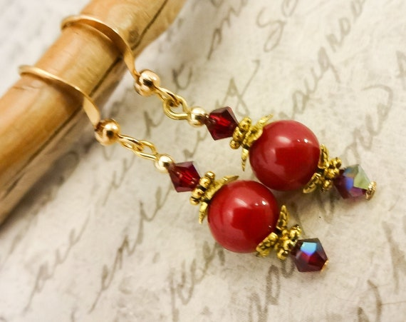 Red Earrings, Red Jade and Swarovski Earrings, Red Dangle Earrings, Red Stone and Crystal Earrings
