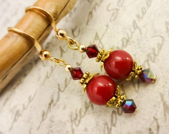 Red Earrings, Red Jade and Swarovski Earrings, Red Dangle Earrings, Red Stone and Crystal Earrings