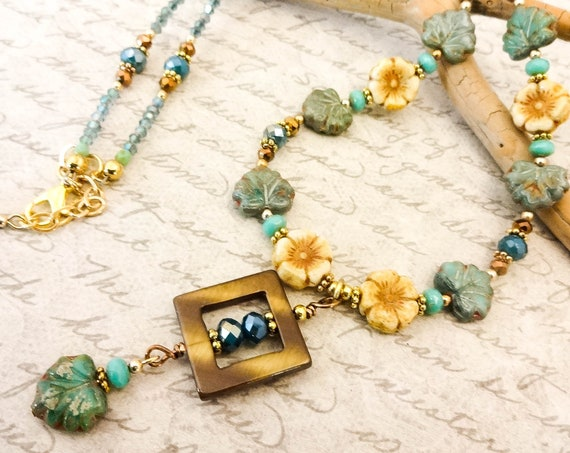 Crystal, Mother of Pearl and Czech Glass Necklace, Flowers and Maple Leaves, Bohemian Necklace, Green and Brown