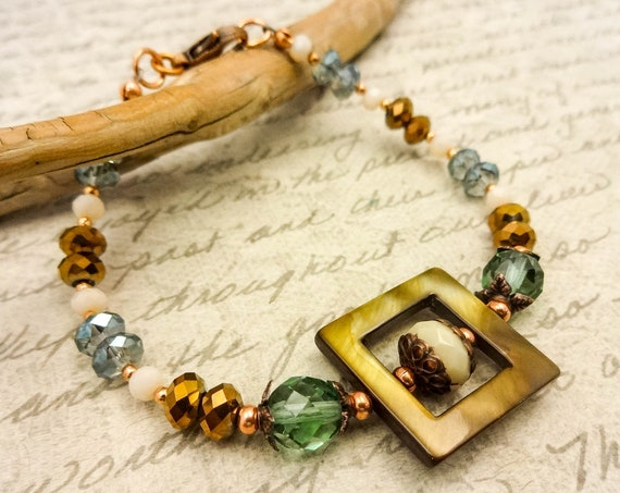Mother of Pearl and Czech Firepolish Bracelet in Green Brown and Ivory, Boho Bracelet, Gift for Her
