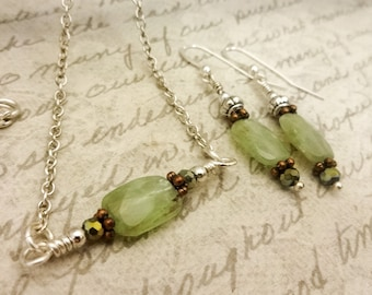 Green Kyanite Necklace and Earrings Set, Green Kyanite Set, Minimalist Jewelry, Green Gemstone Jewelry, Gift for Her, Gift for Wife
