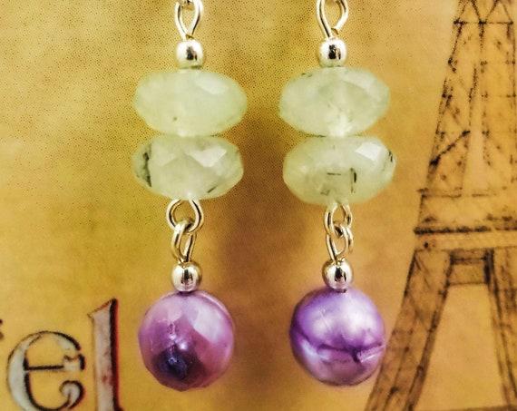 Prehnite Earrings, Prehnite Gemstone, Green Stone Earrings, Gemstone Earrings, Green Gemstone, Prehnite Dangle, Handmade Earrings