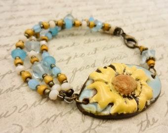 Blue and Gold Bracelet, Artisan Ceramic Daisy Bracelet, Ceramic and Czech Glass Bracelet, Gift for Mom, Gift for Her