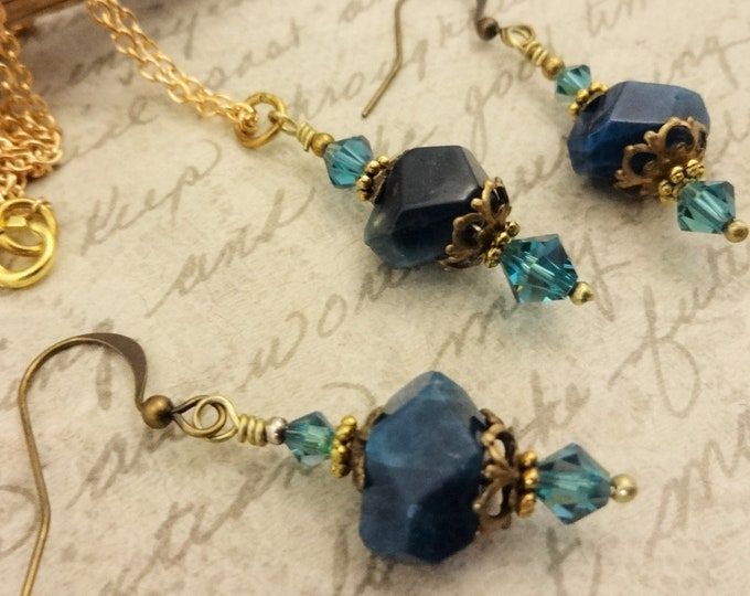 Apatite Nuggets and Swarovski Crystals with Antique Brass, Necklace and Earrings Set, Gift for Her