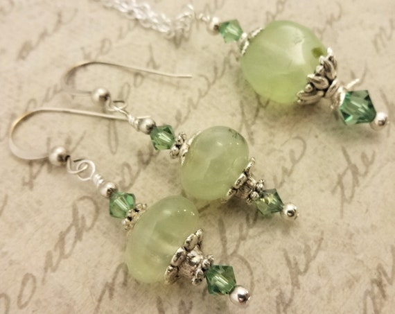 Prehnite Nuggets, Swarovski Crystals and Silver Necklace and Earrings Set, Gift for Her