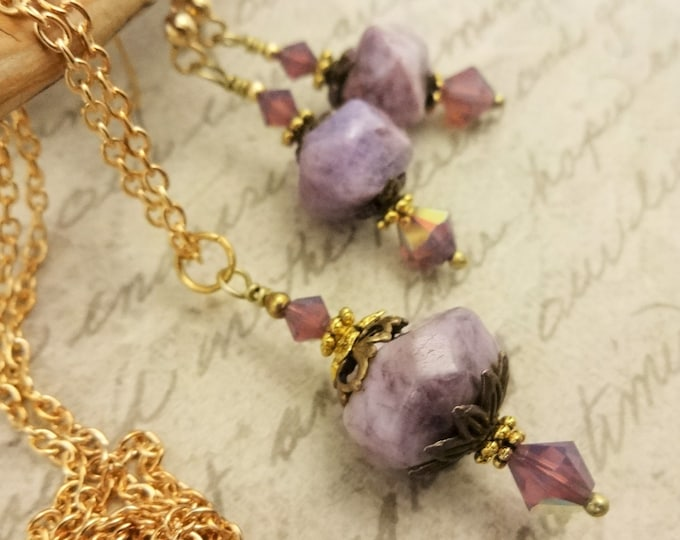 Charoite Nuggets and Swarovski Crystals with Gold, Antique Brass and 14k Gold Fill Necklace and Earrings Set, Gift for Her