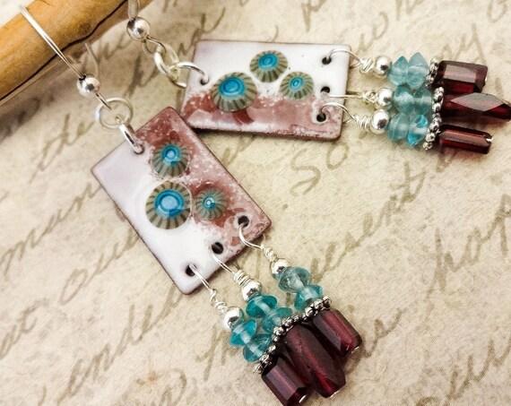 Artisan Handcrafted Enamel Charms, Garnet and Apatite Earrings
