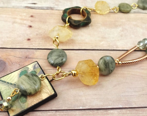Boho Citrine, Green Line Jasper, Ceramic & Dragonfly Necklace
