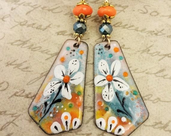 Artisan Enamel Earrings, Aqua and Orange One of a Kind Artisan Earrings, Handmade Earrings, Gift for Her