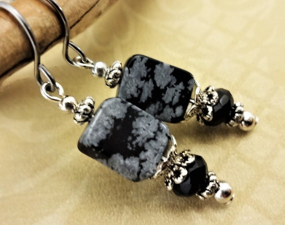 Snowflake Obsidian Earrings, Black and Gray Earrings, Black Stone Jewelry, Natural Stone Earrings, Gift for Her