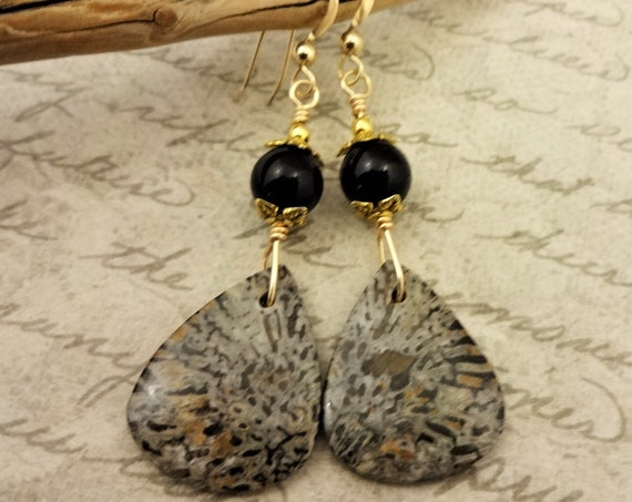 Fossil Coral Earrings, Black and Brown Earrings, Fossil Coral and Black Onyx Stone Earrings, Gift for Her