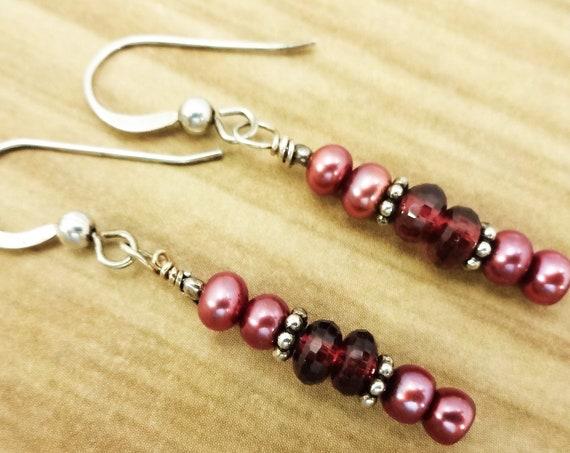 Garnet Earrings, January Birthstone, Birthstone Earrings, Garnet and Pearl, Red Gemstone, Christmas Gift, Garnet Jewelry, Dangle Earrings