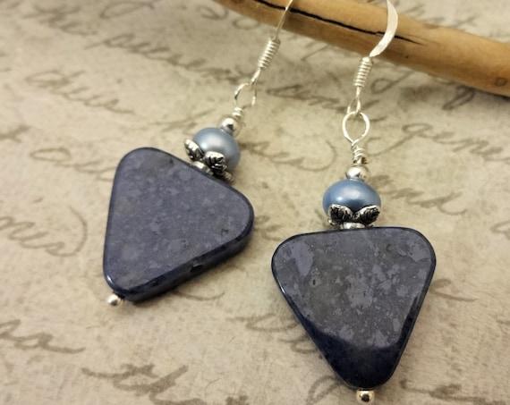 Blue Stone and Pearl Earrings, Sodalite Triangle Earrings, Everyday Earrings, Blue Gemstone and Freshwater Pearl Earrings