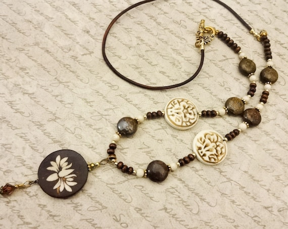 Lotus Necklace, Rustic Carved Bone, Wood Bronzite Riverstone Leather Necklace, Brown and Beige Jewelry, Gift for Her