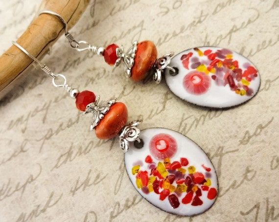 Red and White Artisan Earrings, Enamel, Ceramic and Glass
