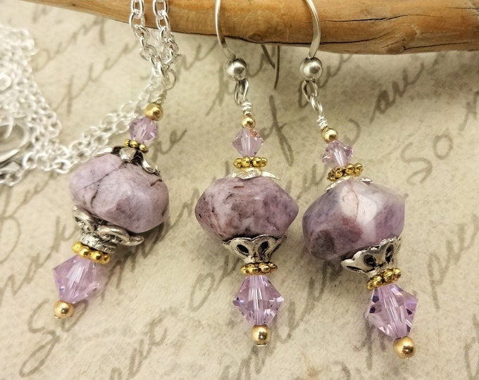 Charoite Nuggets and Swarovski Crystals with Silver and a Little Gold, Necklace and Earrings Set, Gift for Her