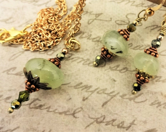 Prehnite Nuggets, Swarovski and Czech Crystals with Antique Copper and Brass, Necklace and Earrings Set, Gift for Her