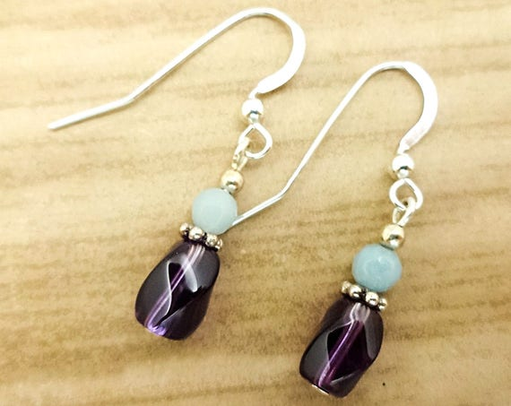 Dainty Amethyst and Amazonite Gemstone Earrings