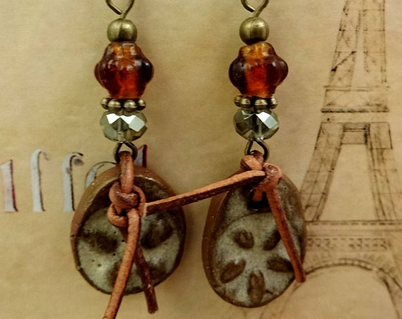 Rustic Boho Earrings, Artisan Ceramic, Ceramic and Leather, Antique Brass Earrings, Rustic Earrings, Western Earrings, Cowgirl Earrings