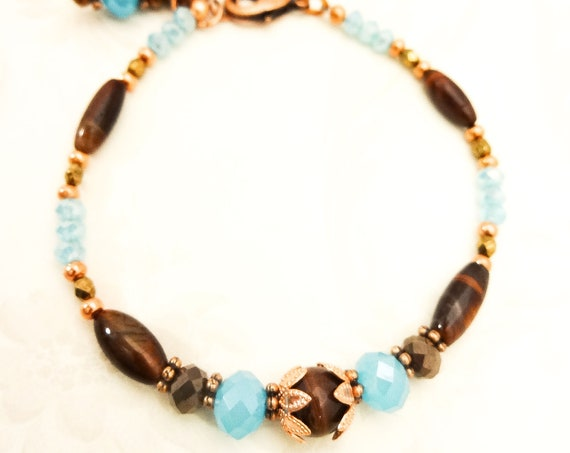 Red Tigers Eye and Blue Czech Glass Beaded Bracelet, Blue and Brown Gemstone Bracelet